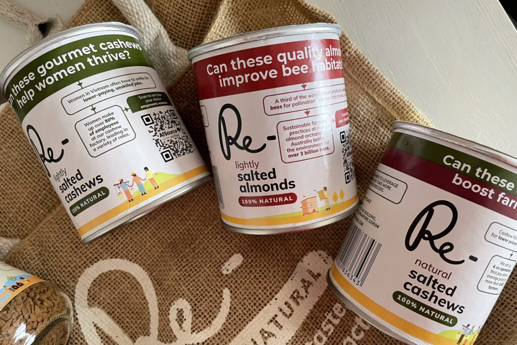 Re- foods sustainable fairtrade healthy snacks Singapore eco-friendly nuts cashews almonds